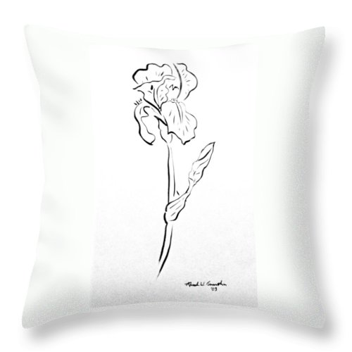 Abstract Throw Pillow featuring the drawing Iris II by Micah Guenther
