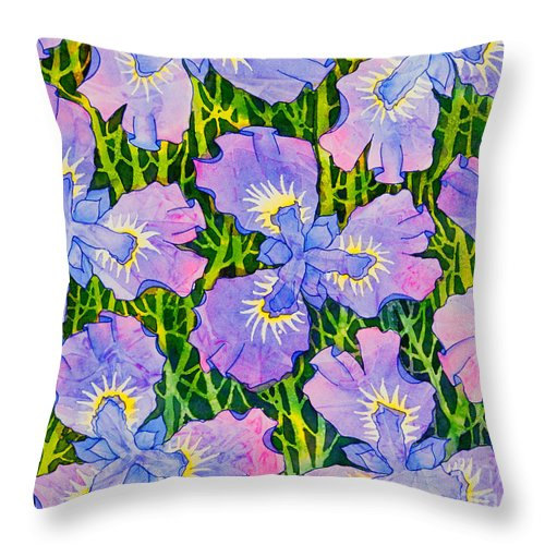 Iris Throw Pillow featuring the painting Iris Patterns by Teresa Ascone