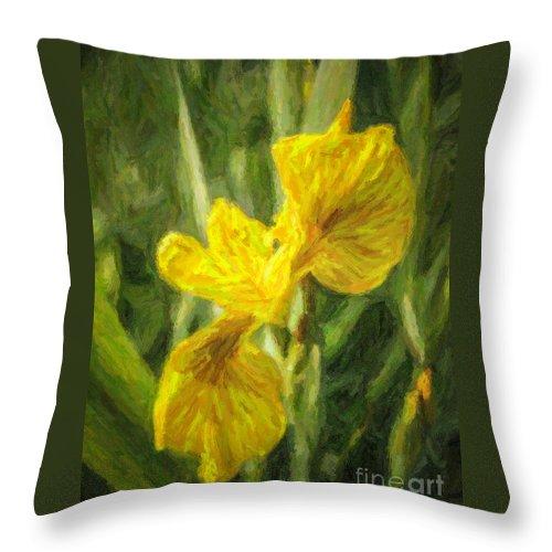 Yellow Flag Iris Throw Pillow featuring the digital art Iris Pseudacorus Yellow Flag Iris by Liz Leyden