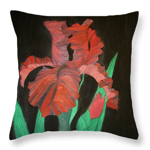 Iris Throw Pillow featuring the painting Iris by Richard Dotson