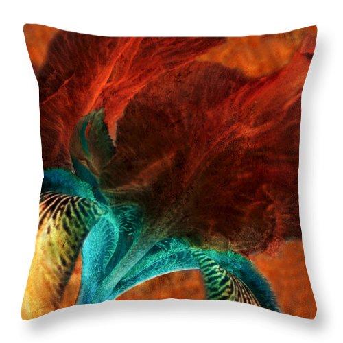 Iris Throw Pillow featuring the painting Iris Sonata 3 by Bonnie Bruno