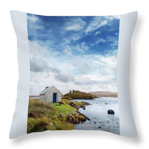 Water's Edge Throw Pillow featuring the photograph Irish Landscape In Connemara by Narvikk