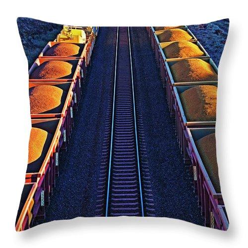 Rail Freight Throw Pillow featuring the photograph Iron Ore Train, Karratha. Western by John W Banagan