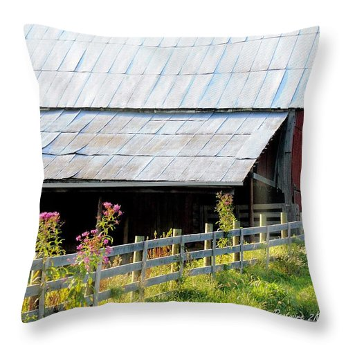 Ironweed Fenceline Throw Pillow featuring the photograph Ironweed Fenceline by PJQandFriends Photography