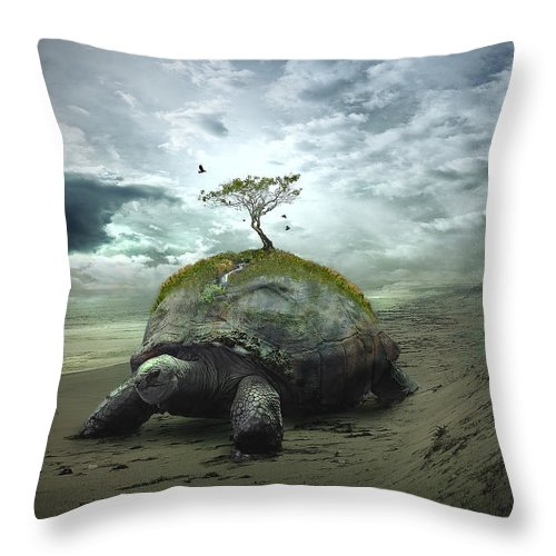 Iroquois Throw Pillow featuring the digital art Iroquois Creation Story by Rick Mosher