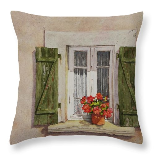 Watercolor Throw Pillow featuring the painting Irvillac Window by Mary Ellen Mueller Legault