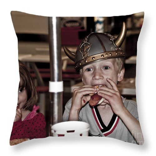 Is She Adoring Her Viking Or Coveting His Lunch Throw Pillow featuring the photograph Is She Adoring Her Viking Or Coveting His Lunch by Sandi Mikuse