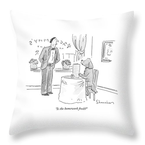 Homework Throw Pillow featuring the drawing Is The Homework Fresh? by Danny Shanahan
