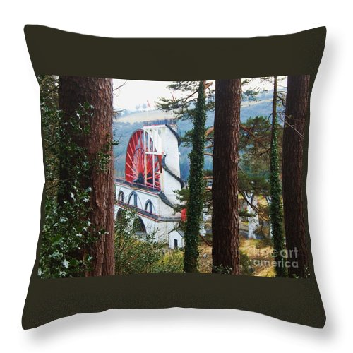 Isle Of Man Pine Trees Water Wheel Destination Attraction Outdoors Unique Structure White Arches Red Wheel Wheel Of Laxey Arches Hillsides Travel Landscape Tourism Isabella Water Wheel Canvas Print Highly Recommended Metal Frame Poster Print Greeting Card Available On T Shirts Tote Bags Shower Curtains Weekender Tote Bags Pouches Throw Pillows And Phone Cases Throw Pillow featuring the photograph Isabella Through The Trees by Marcus Dagan