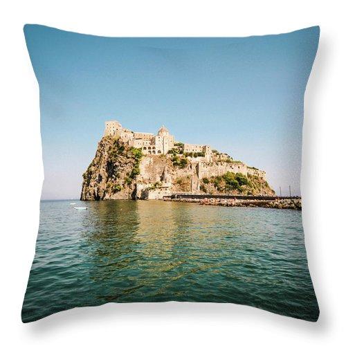 Tyrrhenian Sea Throw Pillow featuring the photograph Ischia Island Castle by Angelafoto