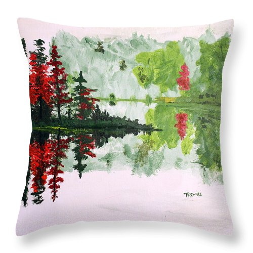Island Throw Pillow featuring the painting Island Alone by William Tremble