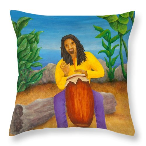 Pamela Allegretto Throw Pillow featuring the painting Island Beat by Pamela Allegretto