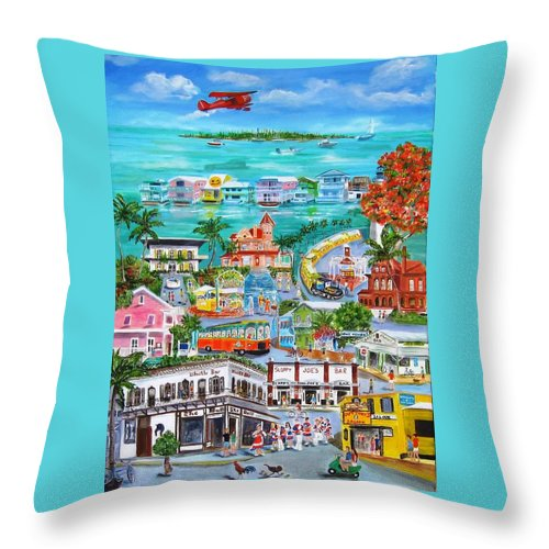 Key West Throw Pillow featuring the painting Island Daze by Linda Cabrera