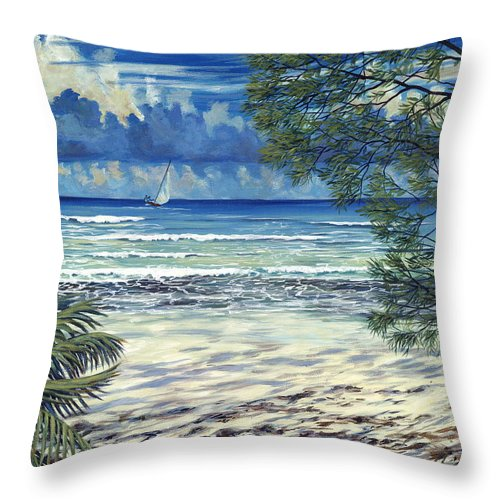 Bahamas Throw Pillow featuring the painting Island Sail by Danielle Perry
