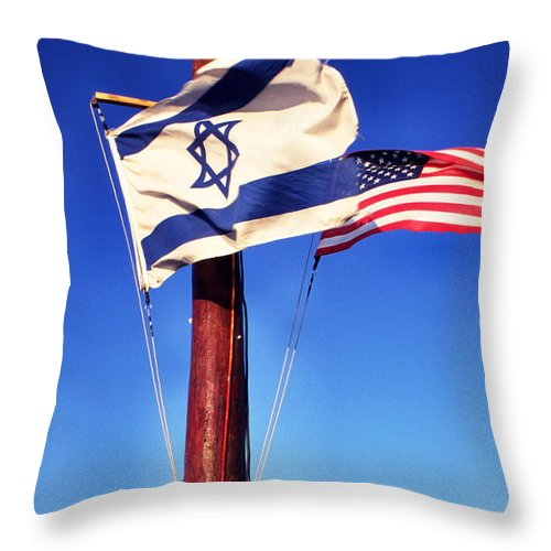 Us Flag Throw Pillow featuring the photograph Israeli Flag And Us Flag by Thomas R Fletcher