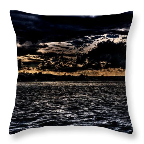 Istanbul Throw Pillow featuring the photograph Istanbul Golden Horn by Roberto Giobbi