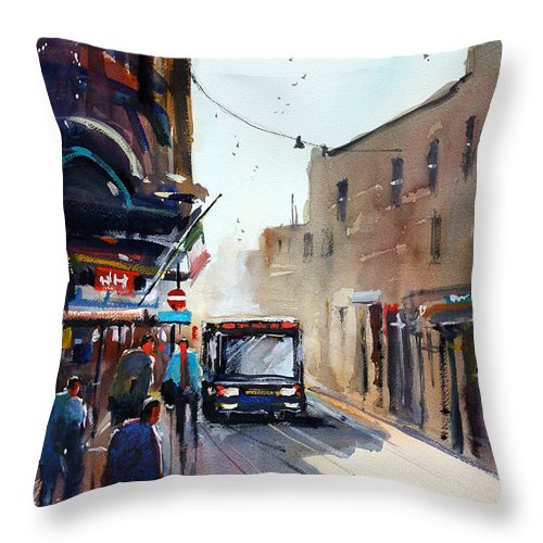 Ryan Radke Throw Pillow featuring the painting Italian Bus Stop by Ryan Radke