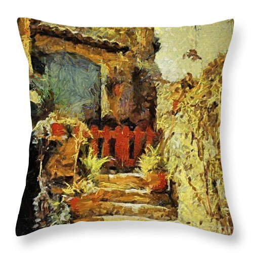 Landscapes Throw Pillow featuring the painting Italian Courtyard by Dragica Micki Fortuna