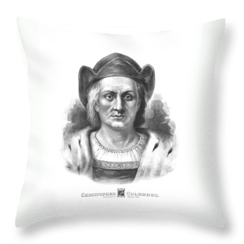 Christopher Columbus Throw Pillow featuring the drawing Italian Explorer Christopher Columbus by War Is Hell Store