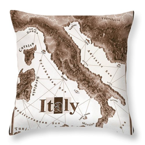 Italian Throw Pillow featuring the mixed media Italian Map by Curtiss Shaffer