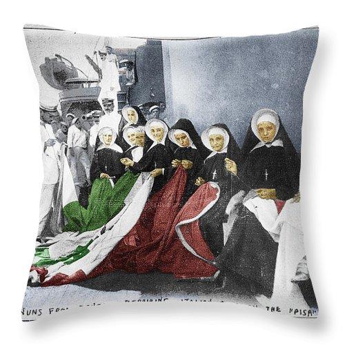 Italy Throw Pillow featuring the photograph Italian Nuns by Tony Rubino