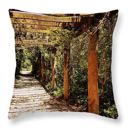 Pergola Throw Pillow featuring the photograph Italian Pergola Hallway by Amy Lucid
