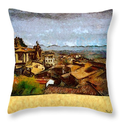 Painting Throw Pillow featuring the digital art Italian Rooftops by Diane Dugas