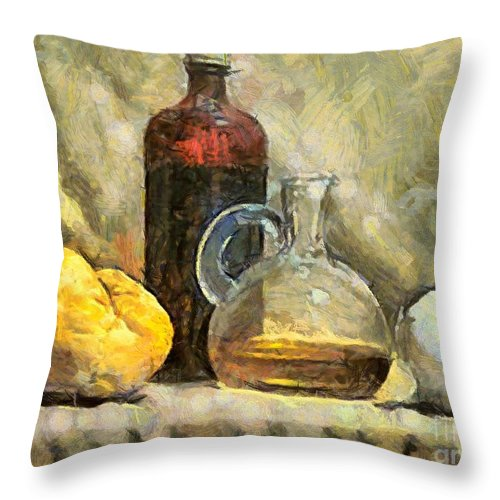Still Life Throw Pillow featuring the painting Italian Still Life by Dragica Micki Fortuna