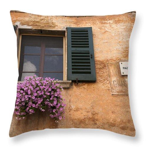Chiavenna Throw Pillow featuring the photograph Italian Window by Brenda Kean
