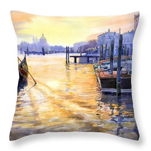 Watercolor Throw Pillow featuring the painting Italy Venice Dawning by Yuriy Shevchuk