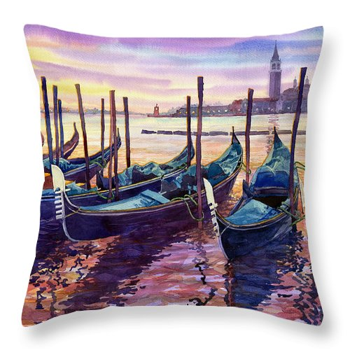 Watercolor Throw Pillow featuring the painting Italy Venice Early Mornings by Yuriy Shevchuk