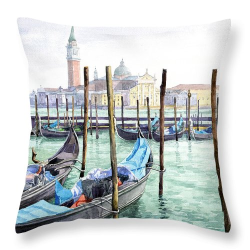 Watercolor Throw Pillow featuring the painting Italy Venice Gondolas Parked by Yuriy Shevchuk