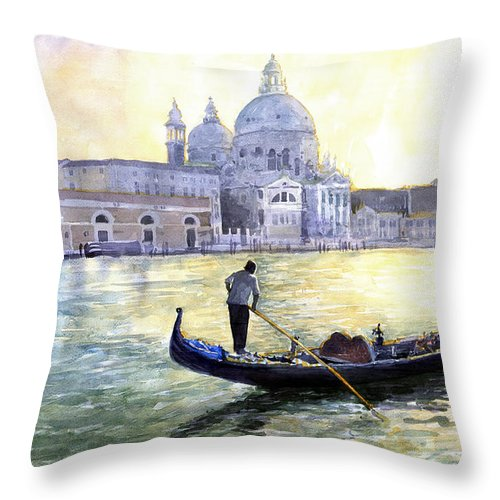 Watercolor Throw Pillow featuring the painting Italy Venice Morning by Yuriy Shevchuk