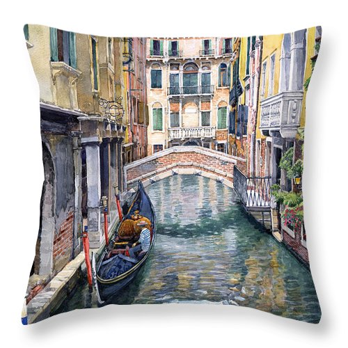 Watercolor Throw Pillow featuring the painting Italy Venice Trattoria Sempione by Yuriy Shevchuk