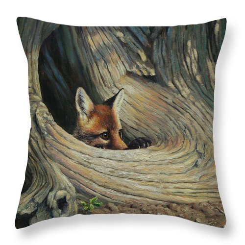Dog Throw Pillow featuring the painting Fox - It's A Big World Out There by Crista Forest