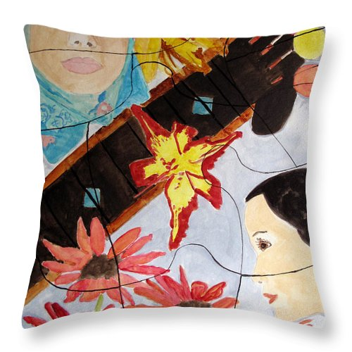 Puzzle Throw Pillow featuring the painting It's A Puzzle by Sandy McIntire