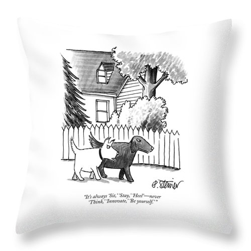 It's Always 'sit Throw Pillow featuring the drawing It's Always Sit by Peter Steiner