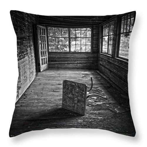 Black And White Throw Pillow featuring the photograph It's Empty Now by Debra Fedchin