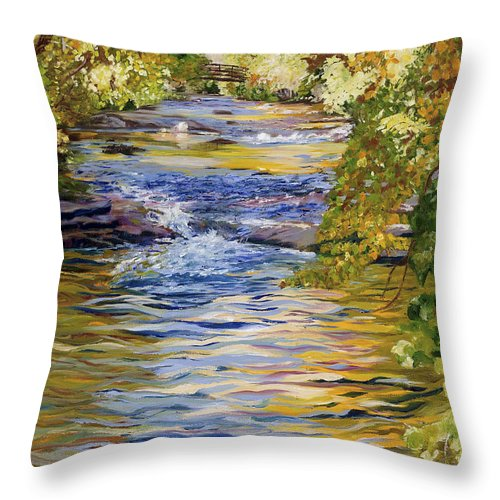 Autumn Throw Pillow featuring the painting It's Golden by Maria Gibbs