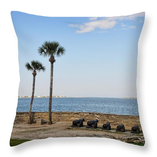 Castillo De San Marcos Throw Pillow featuring the photograph Its Quiet...too Quiet. by Chris Fleming