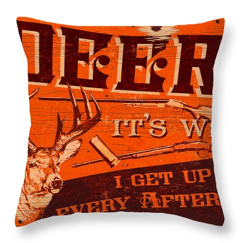 Bruce Miller Throw Pillow featuring the painting It's Why Deer by JQ Licensing