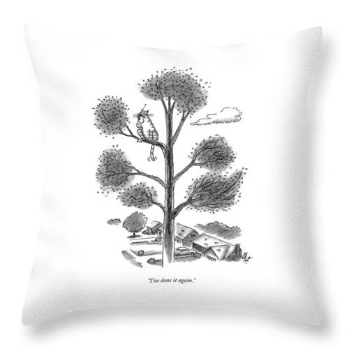 Cats Throw Pillow featuring the drawing I've Done It Again by Frank Cotham