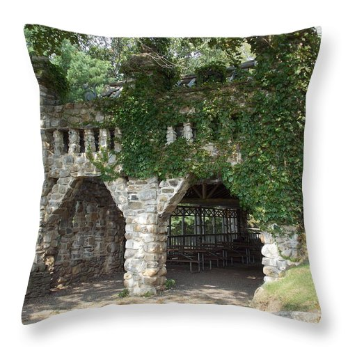 Stone Work Throw Pillow featuring the photograph Ivy Covered Stone Wall by Catherine Gagne