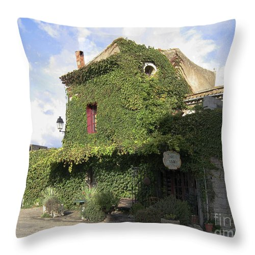 Ivy Covered Cottage Throw Pillow featuring the photograph Ivy Covered Cottage by Victoria Harrington