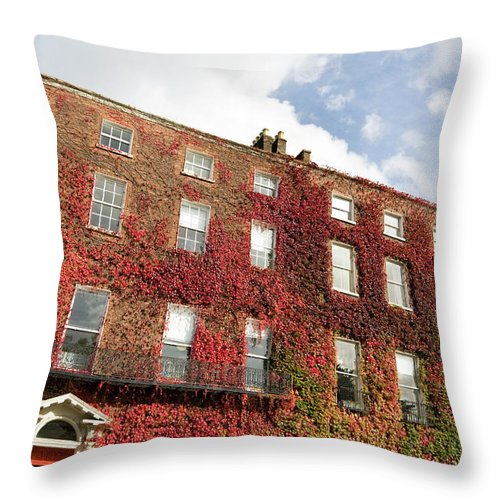 Dublin Throw Pillow featuring the photograph Ivy Covered Georgian Style Building In by Lleerogers