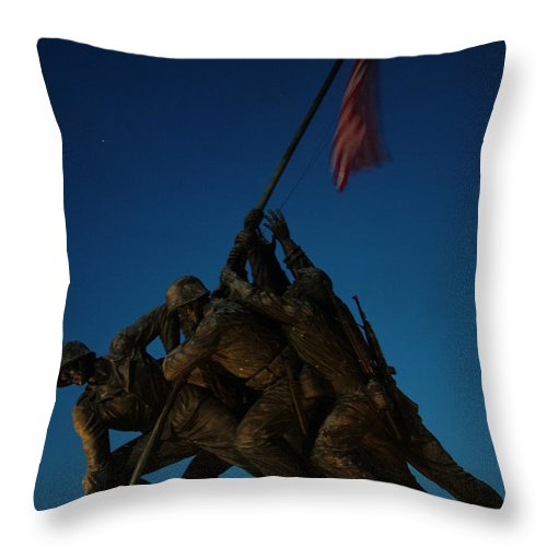 United States Marine Corps Throw Pillow featuring the photograph Iwo Jima Memorial by Geoffrey McLean
