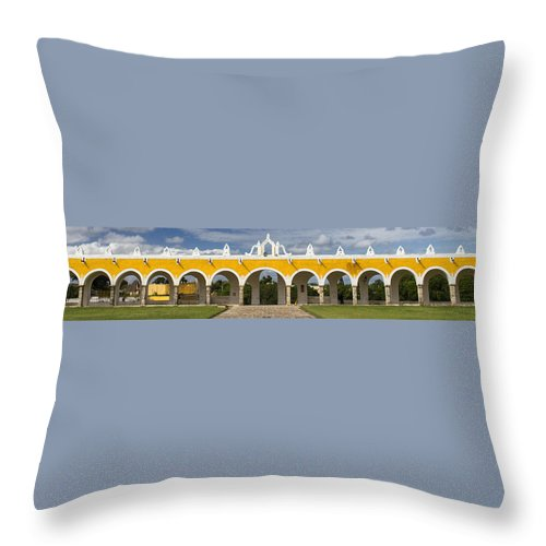 Convent Throw Pillow featuring the photograph Izamal Convent by For Ninety One Days