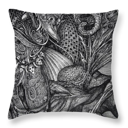 Surrealism Throw Pillow featuring the drawing Jabberwocky by Otto Rapp