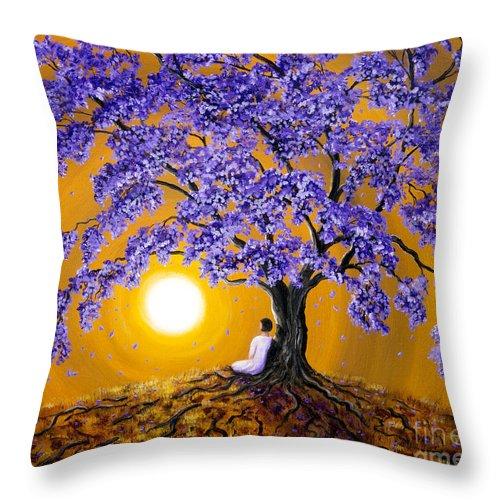 Jacaranda Throw Pillow featuring the painting Jacaranda Sunset Meditation by Laura Iverson