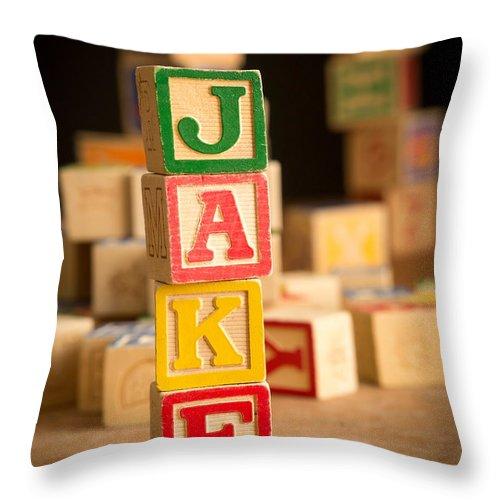 Abcs Throw Pillow featuring the photograph Jake - Alphabet Blocks by Edward Fielding